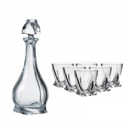 QUADRO SET HIGH DECANTER + 6 TUMBLERS