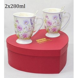2 MUGS WITH SPOONS SET