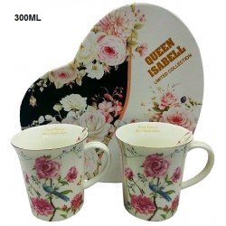 2 MUGS WITH SPOONS, SET